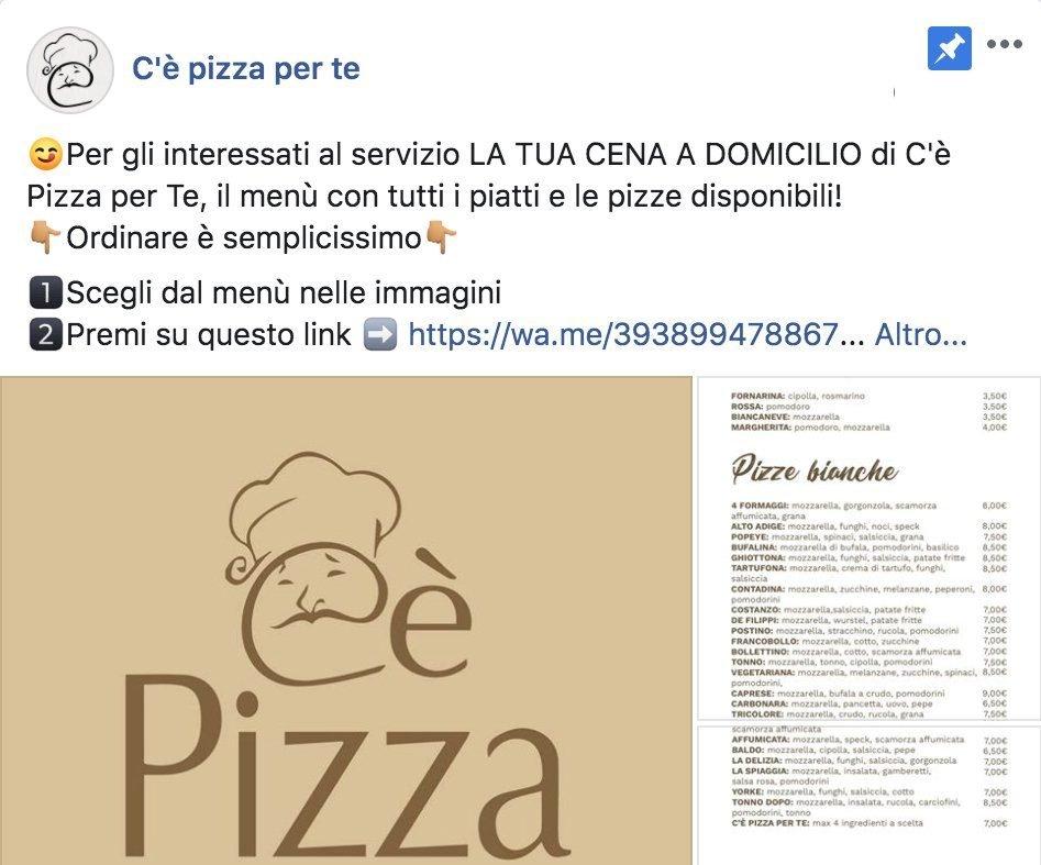 coronavirus facebook pizza