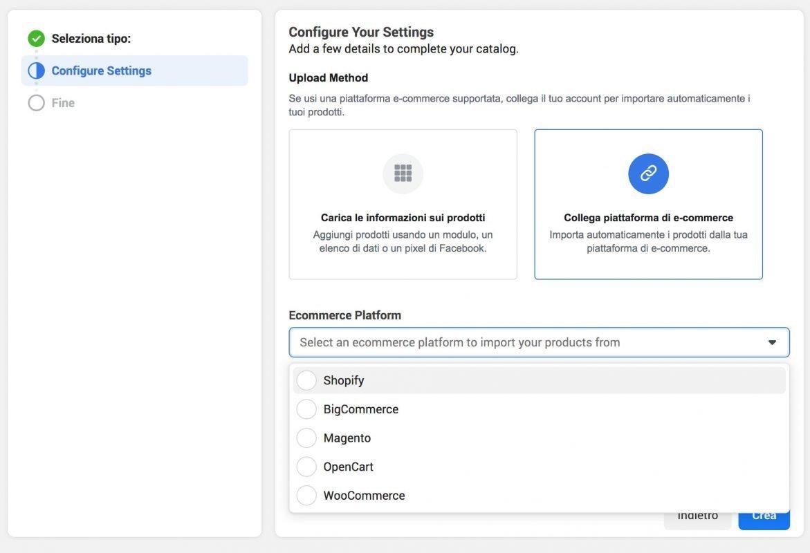 caricamento catalogo prodotti facebook con integrazione partner